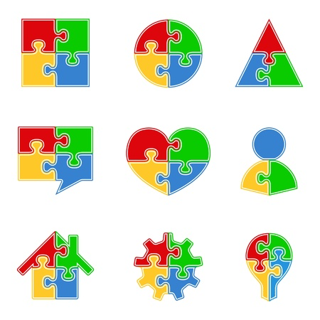 Abstract Puzzle Objects Vector
