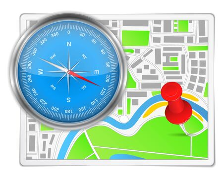 Abstract map with compass and push pin Vector