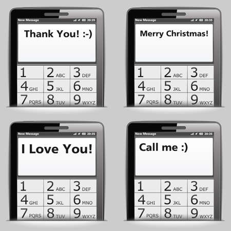 Mobile phone with different messages on the screen Vector