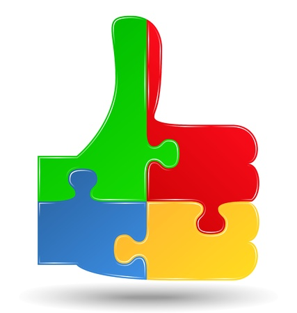 red puzzle piece: Puzzle thumbs up symbol