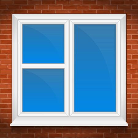 window sill: Window with sill in brick wall