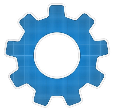 Blueprint gear icon Stock Vector - 14637156