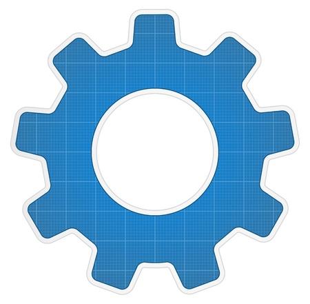 gears icon: Blueprint gear icon Illustration