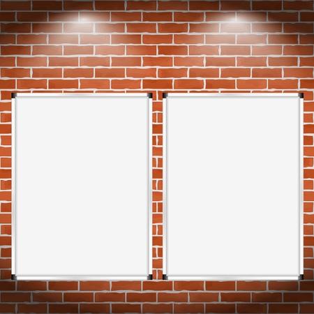 Dos vallas verticales en la pared de ladrillo Ilustración de vector
