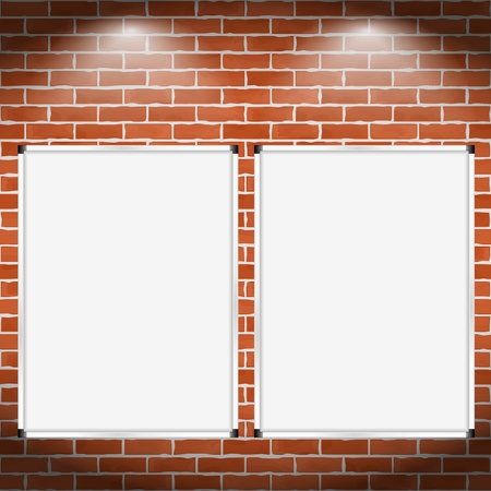 whiteboard: Two vertical billboards on brick wall