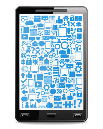 Smart phone with icons on the screen Stock Vector - 14637166
