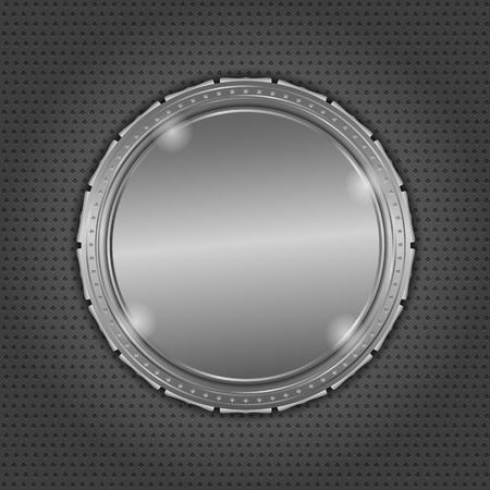 Round metal board on dark background Vector