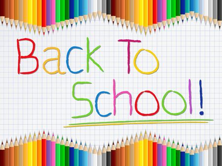 Back to school concept with colored pencils Vector