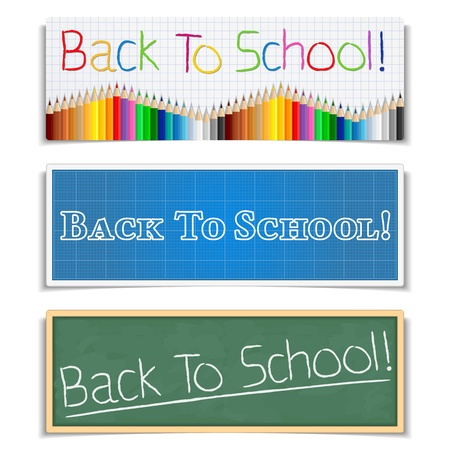 green back: Back To School Banners Illustration