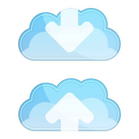 Cloud icons with arrows Vector