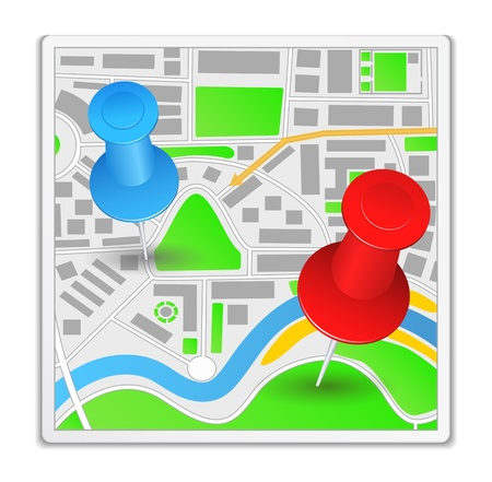 red pushpin: Abstract map icon