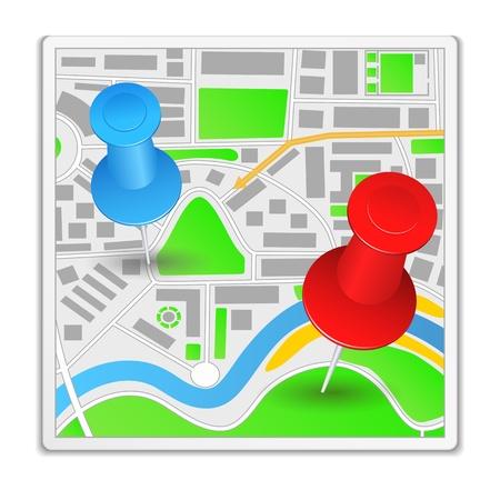 pushpins: Resumen icono de mapa