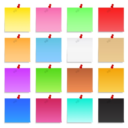 Set of blank post-it notes with push pins Vector