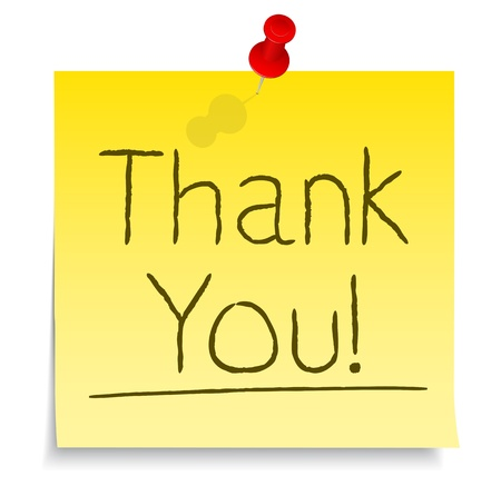 pin board: Thank You Post-it Note Illustration