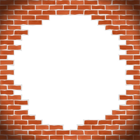 Broken brick wall Stock Vector - 14813446
