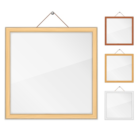 picture frame on wall: Empty wooden frames with glass Illustration