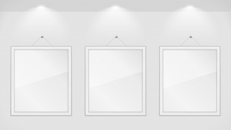 Three white wooden frames on gray wall Vector