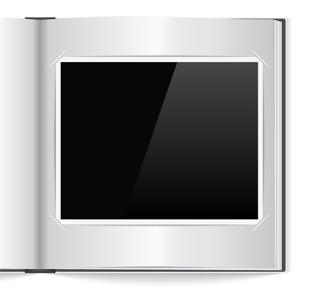 photo album book: Open photoalbum with blank photo