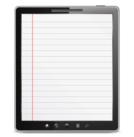 lined: Tablet computer with lined paper on the screen Illustration