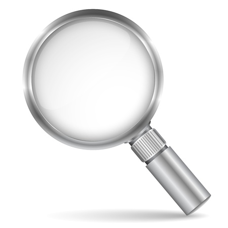 scrutiny: Magnifying glass icon Illustration