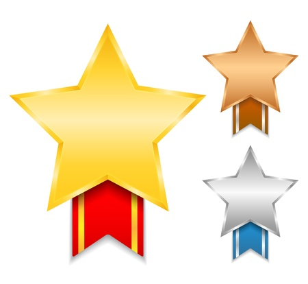 Golden, silver and bronze awards Vector