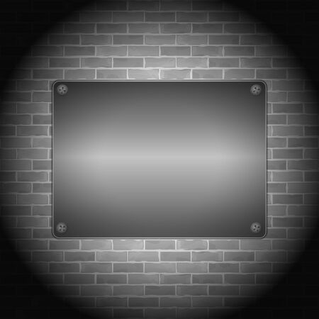 Metal board on brick wall Stock Vector - 14897741