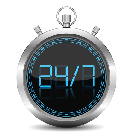 stopwatch: 24 7 Concept Illustration