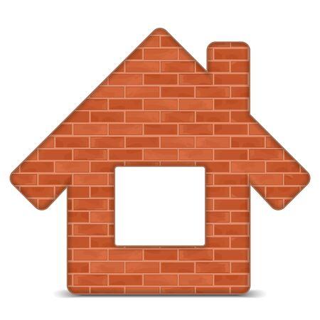 brick house: House icon made of bricks