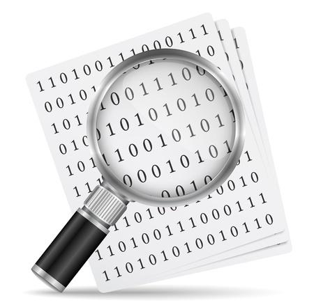 code computer: Search file icon Illustration