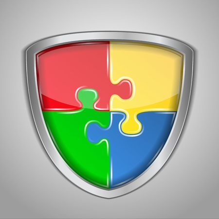 Abstract puzzle shield Vector