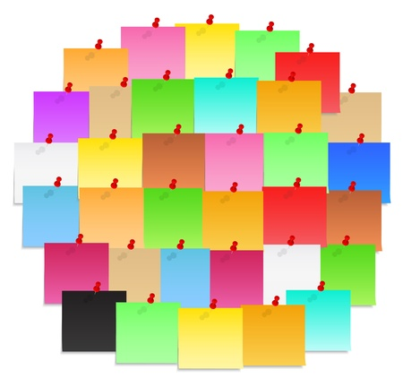 postit note: Circle made of color post-it notes