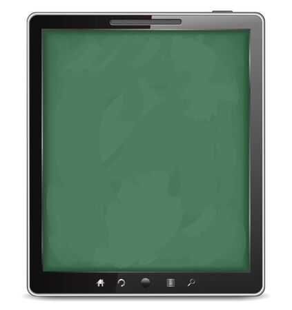 Tablet computer with blackboard background Vector