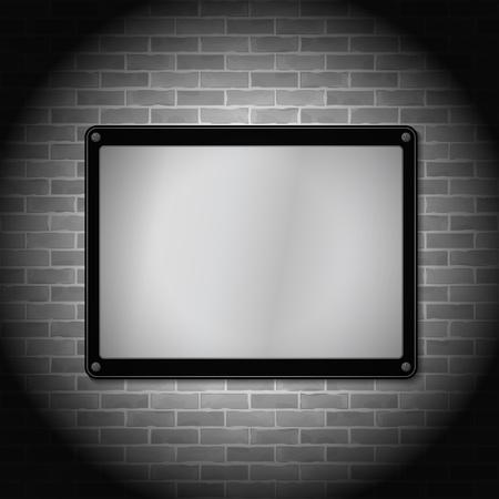 Metal frame on brick wall Stock Vector - 14897791