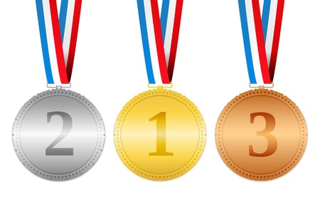Golden, silver and bronze medals hanging on a ribbons Vector