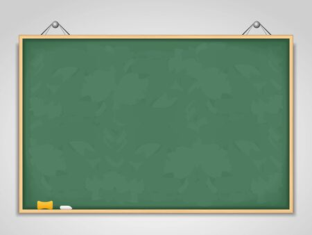 Big horizontal green blackboard hanging on a wall Vector