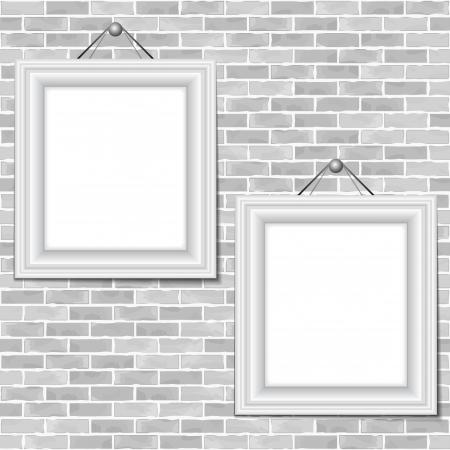 old frames: Two frames hanging on a brick wall Illustration