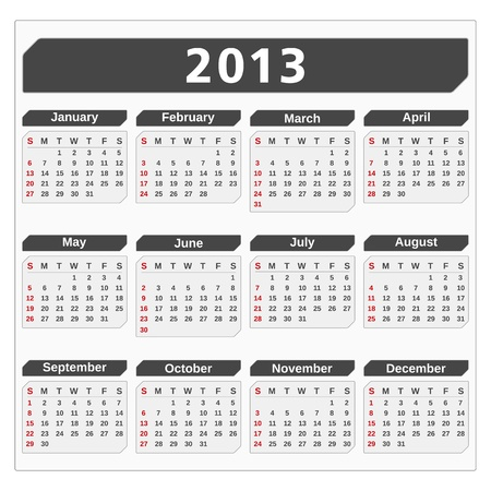 Calendar for 2013 year Vector