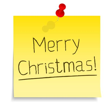 Paper note with merry christmas text Vector