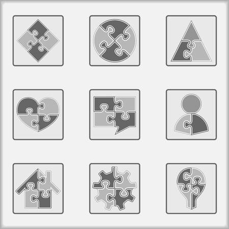 Set of asbtract simple puzzle icons, Vector