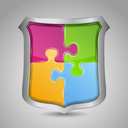 Shield with puzzle pieces Vector