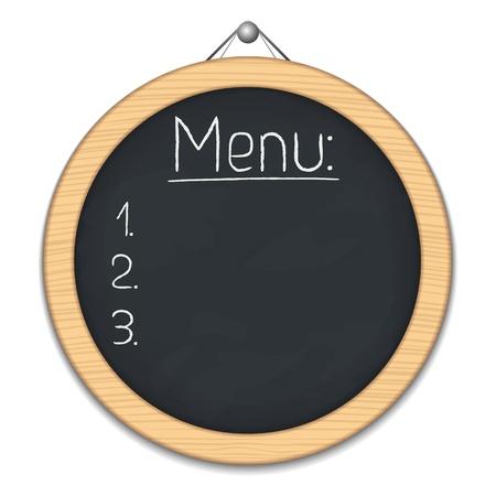 planche: Tableau noir ronde pour le menu