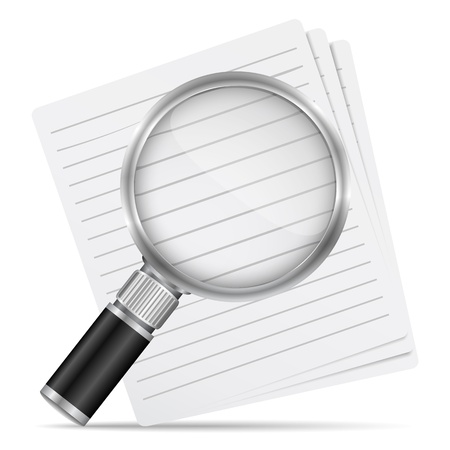 loupe: Magnifying glass with abstract paper documents Illustration