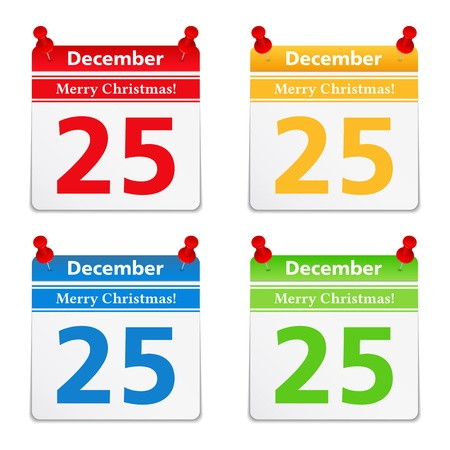 calender: Calendar pages with 25 december
