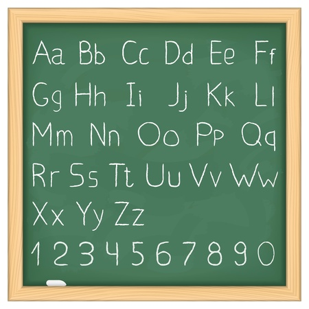 Simple hand drawn alphabet on blackboard Vector