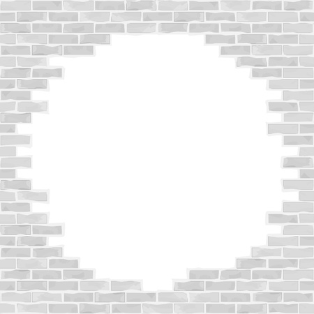 broken wall: Broken brick wall Illustration