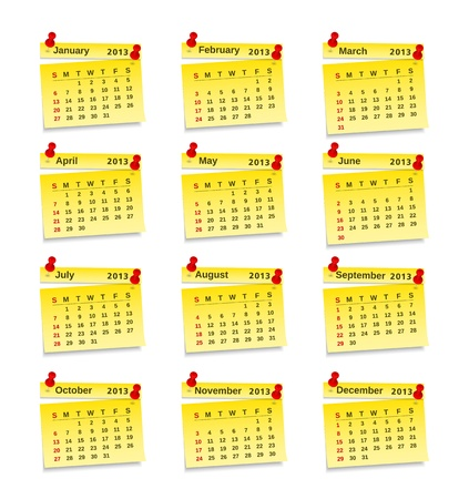 2013 Calendar on yellow sticky notes Stock Vector - 15136723