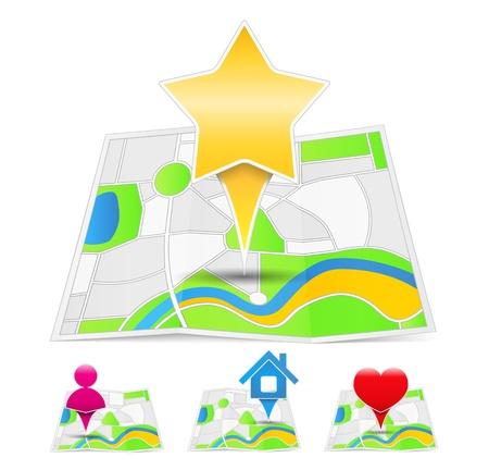 position d amour: Cartes abstraites avec rep�res sur la carte Illustration