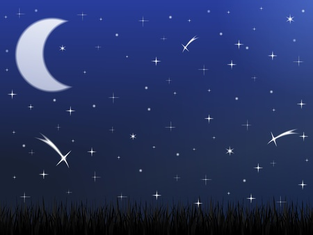 stellate: Night sky with stars and moon Illustration