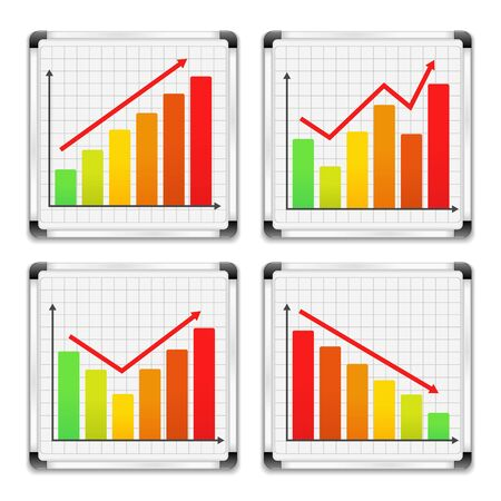 Bar graphs on whiteboards Vector