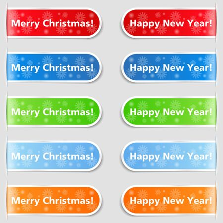 Happy new year and Christmas tabs Stock Vector - 15238997